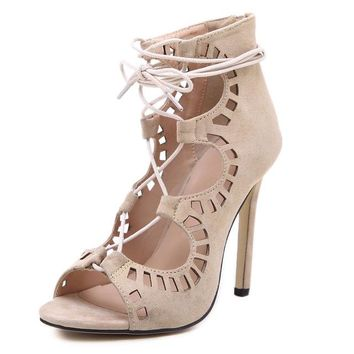 Wome Lace up High Heels Cut Outs