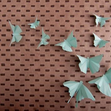 3D Wall butterflies in Aqua Paper for Home Art Decor, Nursery, Children's Room