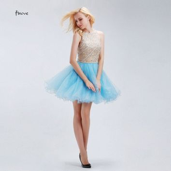 Cocktail Dresses Finove Fantastic Newly Designed Crystals Short Party Sweet 16 Dresses Light Blue Ruffle Homecoming Gowm