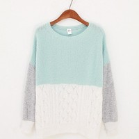 Three Colors Sweater - Mint & White.. on Luulla