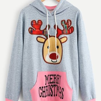 Christmas Deer And Letter Pattern Hoodie