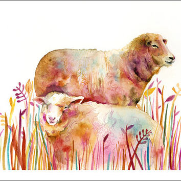 Sheep - Archival print of Original Watercolor Painting