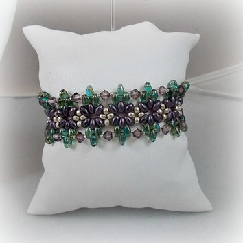 Artisan Handcrafted Bracelet Woven Amethyst Swarovski Crystals Purple Green Silver SuperDuo Seed Beads Bead Weaving Unique Hand Stitched
