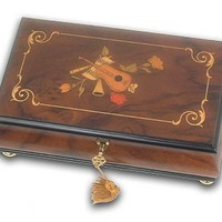 Striking, Classic Le Ore Inlaid Violin, Horn, and Flute Musical Jewelry Box UNIQUE (Have Yourself A