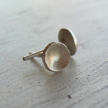 Silver Stud Earrings - Sterling Silver Post - Petite Round or Square - Everyday Wearable Jewelry