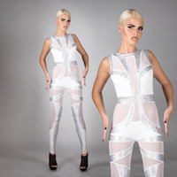 Space Bride Catsuit, White & Silver Hologram Spandex Leotard, Bridal Jumpsuit, Alternative Wedding, Futuristic Stage Outfit, by LENA QUIST