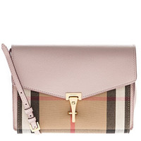 Burberry Women's Small Leather and House Check Crossbody Bag Nude Blush