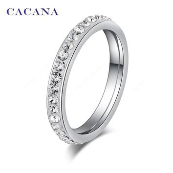 CACANA Titanium Stainless Steel Rings For Women Small CZ  Surround Fashion Jewelry Wholesale NO.R19