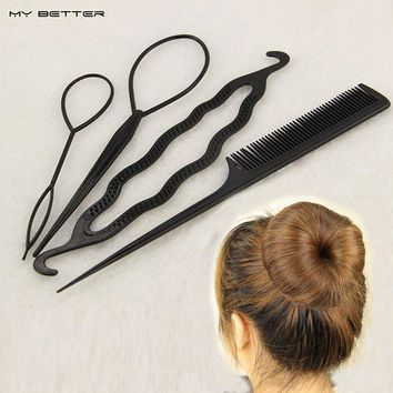 ONETOW 4 pcs Hair Twist Styling Clip Stick Bun Donut Maker Braid Tool Set Headband Hair Accessories