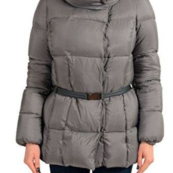Moncler Women's VERVEINE Gray Down Snap Buttons Parka Jacket Sz 1 US S