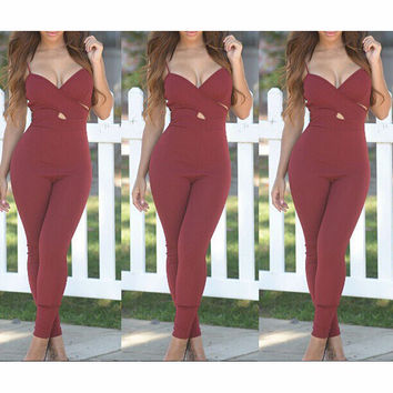 SEXY V-NECK PURE COLOR JUMPSUITS