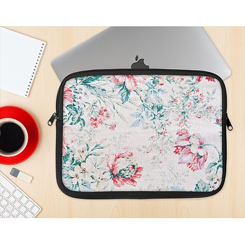 The Coral & Blue Grunge Watercolor Floral Ink-Fuzed NeoPrene MacBook Laptop Sleeve