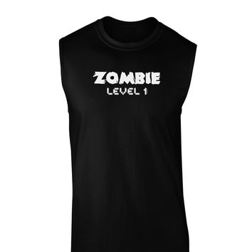 Zombie Level 1 - Funny - Halloween Dark Muscle Shirt