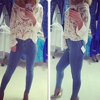 Fashion high waist skinny jeans