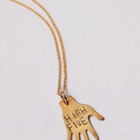The Betty Collection: High Five Necklace in Brass