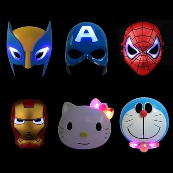 LED Light Super Hero Mask The Avengers Wolverine Spiderman Captain America Iron Man Mask Party Cosplay Halloween Kids Toy