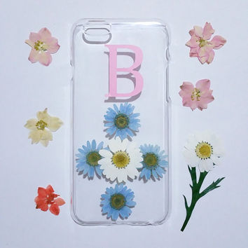 monogram iPhone case,Personalized iPhone 6s  Case,pressed flower iPhone 5C case,initial iphone 6 plus case,real flower iphone case
