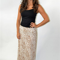 Deco Print Maxi Skirt (Latte)