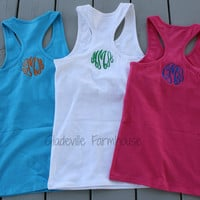 Monogrammed Racer Back Tank Youth and Adult