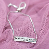 She Believed She Could So She Did Silver Bar Adjustable Bracelet