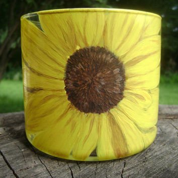 Illuminating Sunflower Candle Holder hand painted upcycled glass yellow gold brown great gift