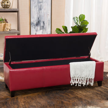 Skyler Red Leather Storage Ottoman Bench