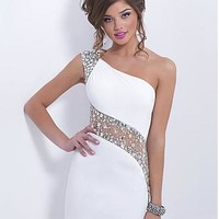 Buy discount Charming Chiffon & Tulle Sheath One Shoulder Neckline Mini Homecoming Dress With Rhinestones at Dressilyme.com