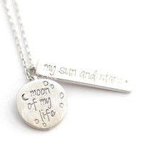 moon of my life necklace, my sun and stars, moon necklace, crest necklace, love necklace, eternity necklace, woman necklace, engagement