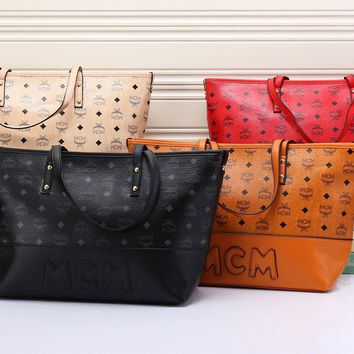 """MCM"" Fashion Casual Classic Letter Logo Print Tote Single Shoulder Shopper Bag Women Large Handbag Set Two-Piece"