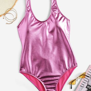 Metallic Low Back One Piece Swimsuit