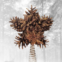 Christmas star tree topper - pine cone snowflake