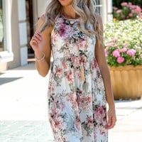 Holiday in Paradise Ivory Floral Racerback Dress Shop Simply Me Boutique – Simply Me Boutique