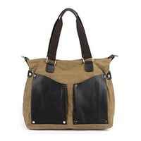 Vere Gloria Male Female Fashion Leather Canvas Handbag Casual Shoulder Bags for Work, College, Commuting