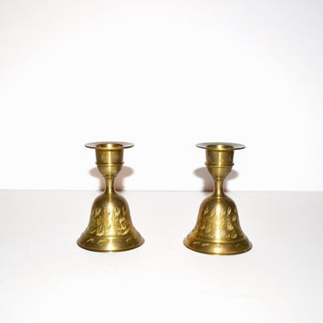 Vintage Brass Candle Holders Set of 2 Etched Brass Candlesticks Brass Bells Gold Brass Candle Holders