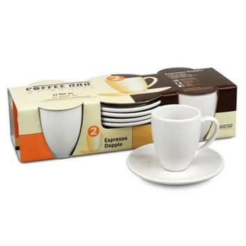 Coffee Bar by Konitz Espresso Doppio Cups and Saucers (Set of 4)