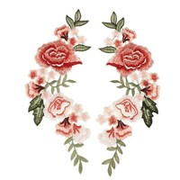 VONE059 Red Rose Flower Patch Applique Badge Sewing Craft Embroidered Patches for Clothing Party Dress Cheongsam Jeans Decor 29x12cm