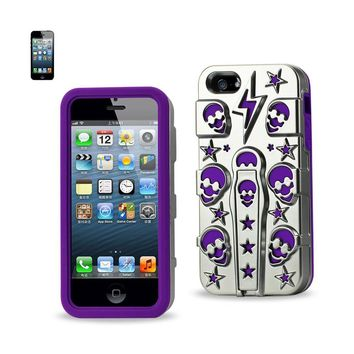 Reiko REIKO IPHONE SE/ 5S/ 5 HYBRID SKULLS CASE WITH KICKSTAND IN PURPLE