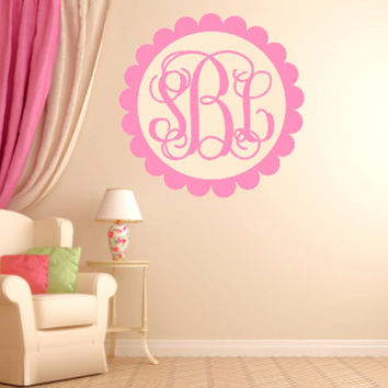 EXTRA Large Scalloped Vinyl Monogram Custom Wall Decal - Monogrammed Wall Decal - Monogrammed Interior Sticker -  Monogrammed Gift