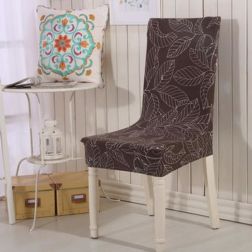 Floral Printing Leaf Shape Spandex Stretch Dining Chair Cover Machine Washable Restaurant cover Decor Wedding Chair Cover
