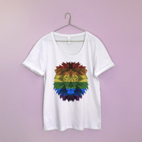 Lion LGBT flag shirt loose neck