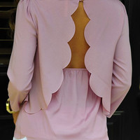 Pink Half Sleeve Layered Scalloped Blouse
