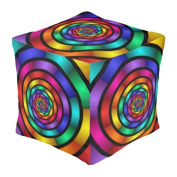 Round and Psychedelic Colorful Modern Fractal Art Pouf