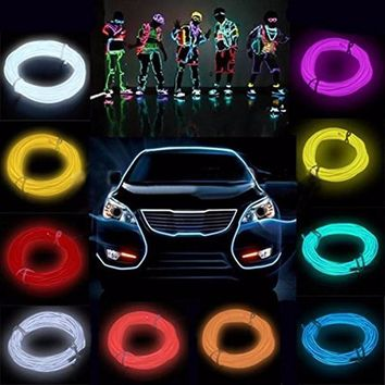 100CM 10 Colors LED Strip Light Flexible Neon EL Wire Rope Tube Flash Neon Glow Light With 12V controller Dance Party Decor