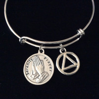 Serenity Prayer AA Silver Expandable Charm Bracelet Adjustable Wire Bangle Inspirational Meaningful Recovery Gift Alcoholics Anonymous