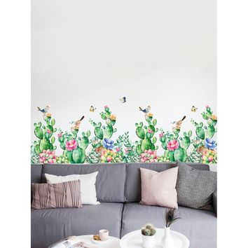 Cactus and Green Plant Wall Decal