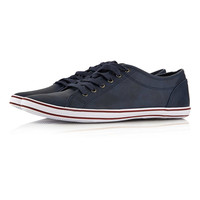 Navy Leather Look Trainers - New In - TOPMAN USA