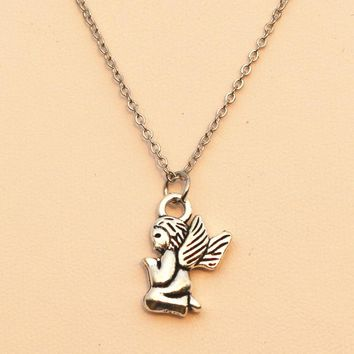 N967 Angel Necklaces & Pendants For Women Retro Silver Plated Colar Fashion Jewelry Steampunk Cheap Bijoux Accessories 2017 NEW