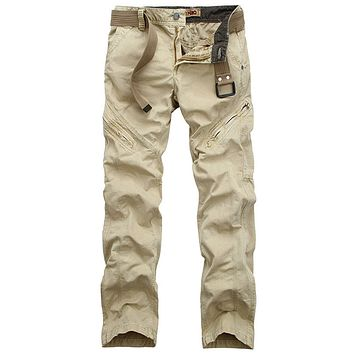 Wildgeeker Men's Pants 2017 New Adventure Nature 100% Cotton Multi-Pockets Loose Cargo Pants Field Casusl Travel Men's Clothing