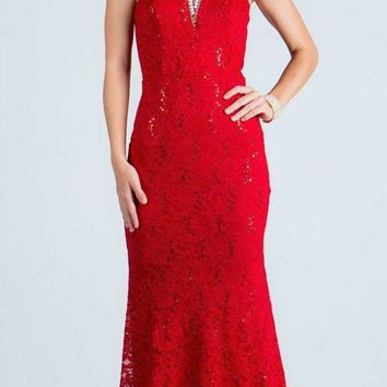 Red Evening Gown Embellished Neck Cut Out Back