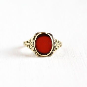 Vintage 10k Yellow Gold Filigree Carnelian Ring - Antique 1920s 1930s Size 5 1/2 Art Deco Dark Red Gemstone Fine Flower Embossed Jewelry